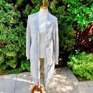 Gap Grey Knit Duster w/ Fringe